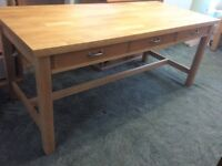 Habitat Oliva Olivia Solid Beech Wood Refectory Kitchen Dining Table with Drawers