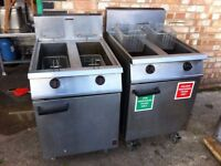 GAS TWIN TANK FRYER CATERING COMMERCIAL KITCHEN TAKE AWAY SHOP RESTAURANT