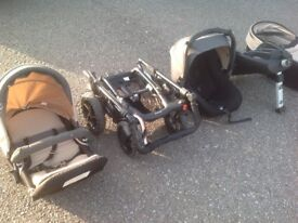 Jane crosswalk pram system - buggy, carrycot, car seat, isofix base, rain cover etc