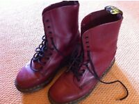 Doc Martens Cherry red leather Boots original Smooth 8 Eye Air Sole Boots