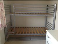 METAL FRAME BUNK BEDS in good condition, for sale with or without mattresses also in good condition.