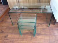 Glass coffee table plus matching glass nest of tables
