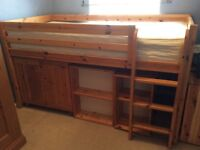 Solid pine cabin bed, mattress and storage units. Bed will need some disassembling to move.