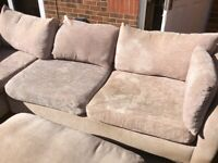 Mink coloured corner sofa with pouffe very good condition £200 ono
