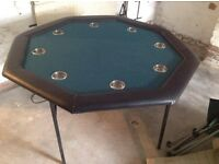 POKER TABLE - 8 Person, Free Standing, Drinks Holders