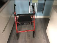 4 wheeled Rollator(walker) with padded flip up seat
