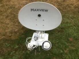 A crank-up roof-mounted satellite system to receive TV/Radio in UK & Europe