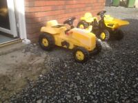 ROLLY TOYS. JCB Dumper truck and CAT tractor also trailer