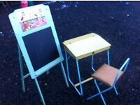 1950s Triang childs desk, chair and chalk board easel
