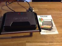 Salter health grill,panini maker,very good condition,in box small ceramic plates