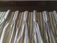 3 large interlinked curtains and 2 large roman blinds vintage blue white stripe Monkwell fabric