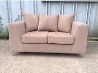 Brand New Beige Brown 2 Seater Sofa with Chrome Feet - £129 Including Free Local Delivery