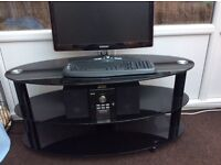 Black Glass TV Stand , Oval Shaped
