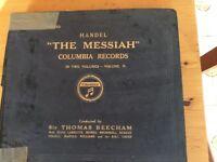 Old Records: Columbia Handel's Messiah in Two Volumes Sir Thomas Beecham/BBC choir