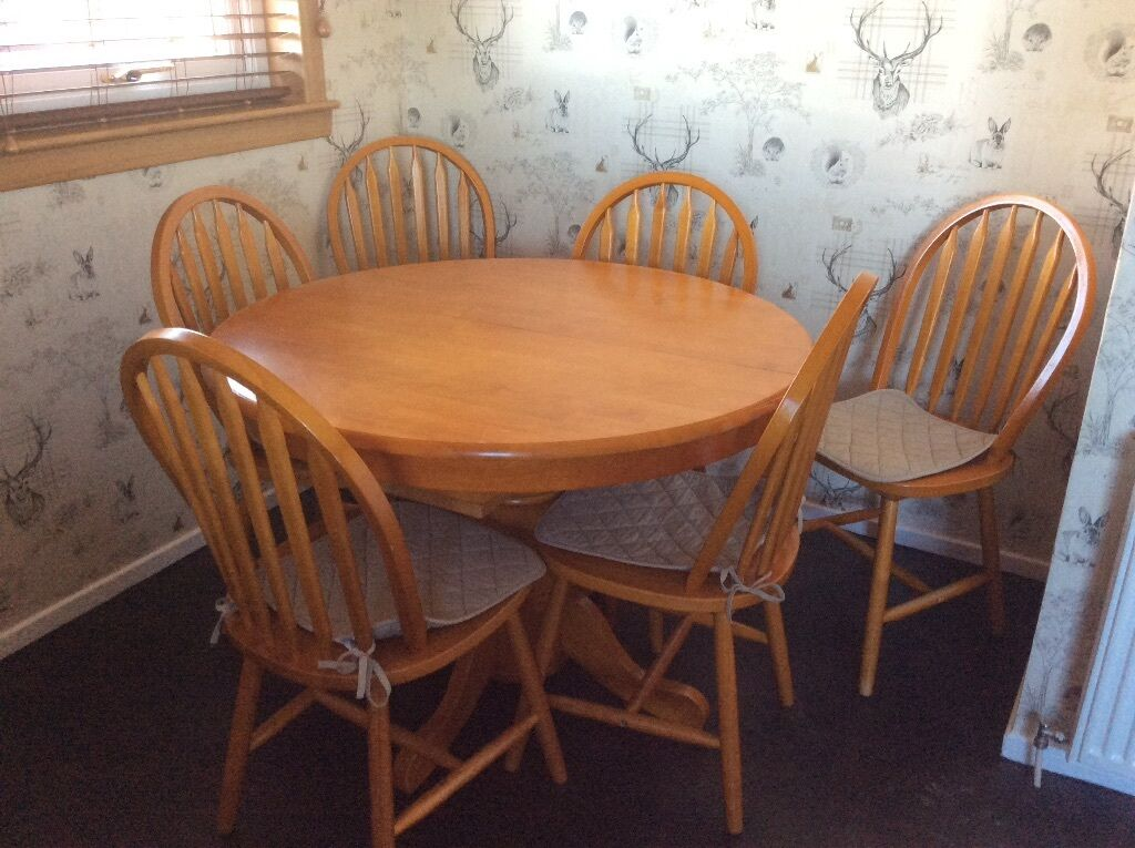 Extendable pine round to oval dining table with 6 chairs  near ForfarExtendable pine round to oval dining table with 6 chairs  near  . Pine Dining Table Round Extending. Home Design Ideas