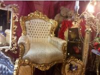 French Rococo style chair throne