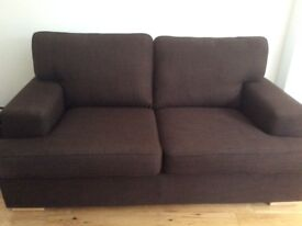 Brown fabric two seater couch and chair, great condition