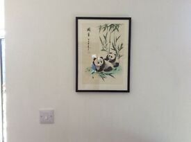 Original from Hong Kong silk picture of panda's beautifully framed