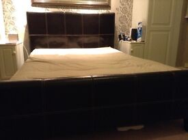 Leather Double bed frame and mattress