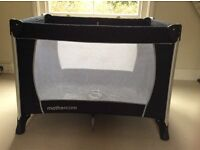 Mothercare Travel Cot - black with mattress and carry bag EXCELLENT CONDITION