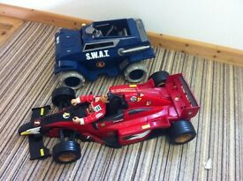 Action man racing car with man & action man tank.
