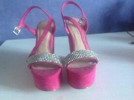 Carvela Pink suede platform shoes