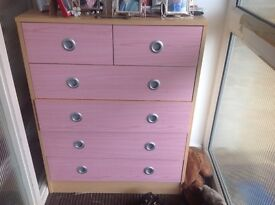 Pink bedroom chest of drawers