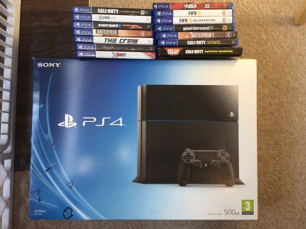 PlayStation 4 (500BG) with 14 games - box, controller and all wires ...