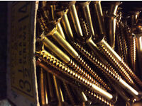 Brass slotted wood screws (new and boxed)