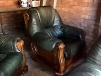 FREE 3 Piece Suite Green Leather Good Condition One two seater sofa and two arm chairs