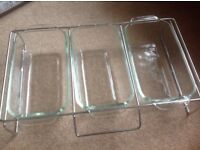 Pyrex hostess trolley dishes with lids and wire rack