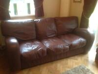 Real Leather Brown Sofa, Chair, Storage Box