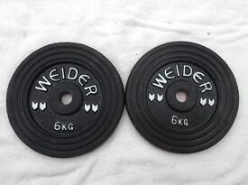4 x 6kg Weider Standard Cast Iron Weights