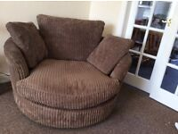Brown CSL 3 seater sofa and cuddle chair . great condition and very comfy ,