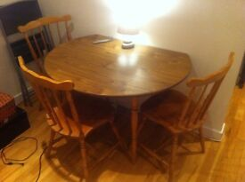 Dinette Dropleaf Table and 3 Chairs