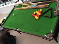 Snooker / Pool Table, 6ft, fold away, with balls, cues, bridge, rest, chalk, scoreboard.