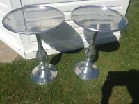 2 next chrome silver side/ occasional tables £40 tel 07966921804
