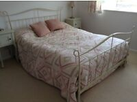 Laura Ashley cream coloured metal double bed with mattress.