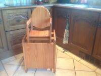 Highchair, nice wooden, converts to table & chair,