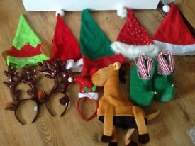 Various Christmas Themed Hats Father Christmas Elf Reindeer Hats Antlers headwear and Elf Shoes