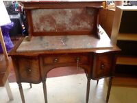 mahogany side board and marble top piece