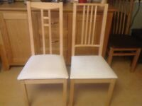 Dining chairs. 4 ikea chairs. Beech with white fabric seats.