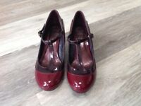 New burgundy two-tone patent leather T-bar shoes. Limited Edition. Size 4.