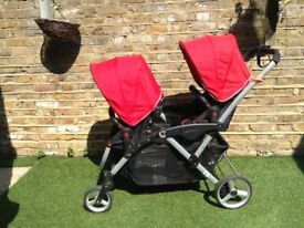Double pushchair stroller OPTIONS LT Tandem with rain cover