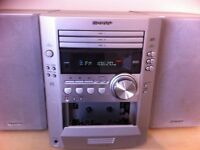 SHARPxl 500 mini cd and tape player plus radio