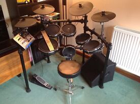 Alesis DM10 mesh electronic drum kit (e-drums) with bass pedal, practice amp, stool and sticks