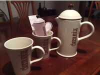 La chocolatiere drinking chocolate frother with 2 matching mugs. Lovely condition.