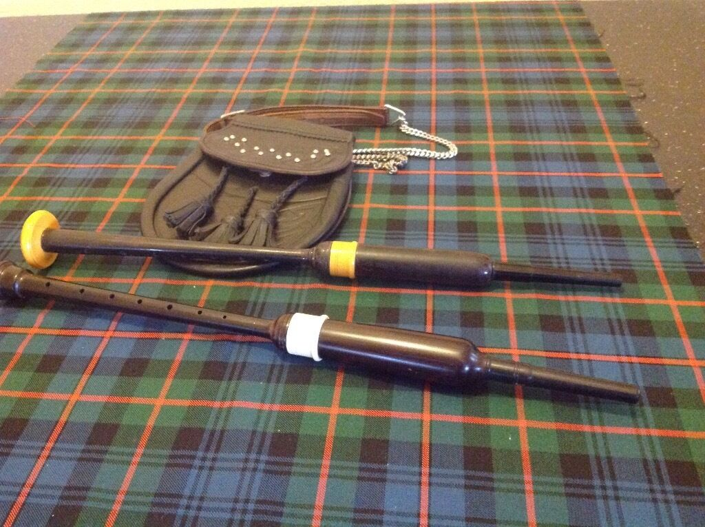 2 ABW bagpipe practice chanter and sporran