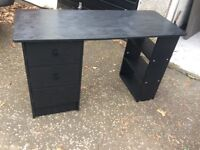 Black desk with drawers