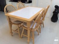 Kitchen / Dining Tiled Top Solid Pine Table and 4 Chairs with 4 Cream Seat Pads Excellent Condition